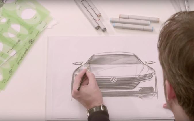 【予告動画】VW新型クーペサルーン「アーテオン」、スケッチに姿が浮かんだ! 画像