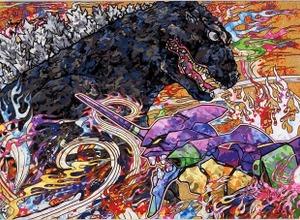 村上隆が描く「コジラvsエヴァンゲリオン」、コラボビジュアル第3弾! 画像