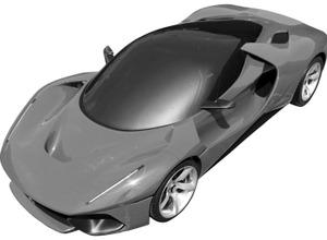 フェラーリ新型ハイパーカー、特許図面が流出! 画像
