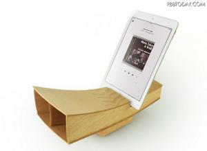 iPad&iPhone向け高級木製スピーカーボックス「Smart Horn.Tab」 画像