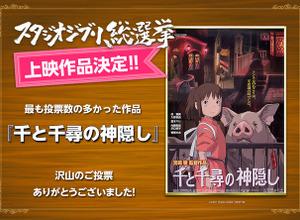「スタジオジブリ総選挙」結果発表、『千と千尋の神隠し』が第1位! 画像