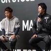 「adeidas Baseball 2017SS新製品発表会」に登壇した山田哲人(右)と高橋周平(2016年12月3日)