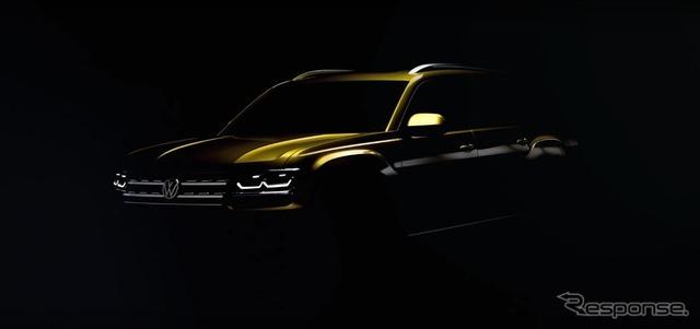 VWの新型ミッドサイズSUVの予告イメージ