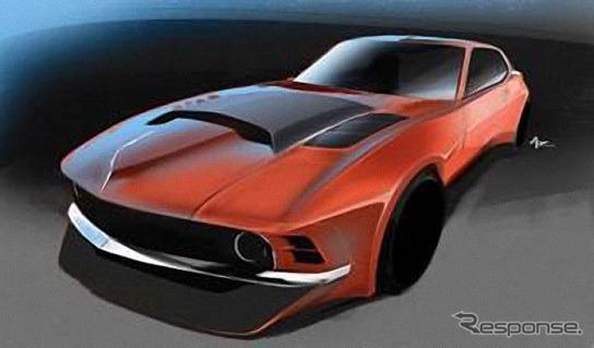 トーヨータイヤのムジラの予告スケッチ。1970年式フォードマスタング+2010年式日産GT-R