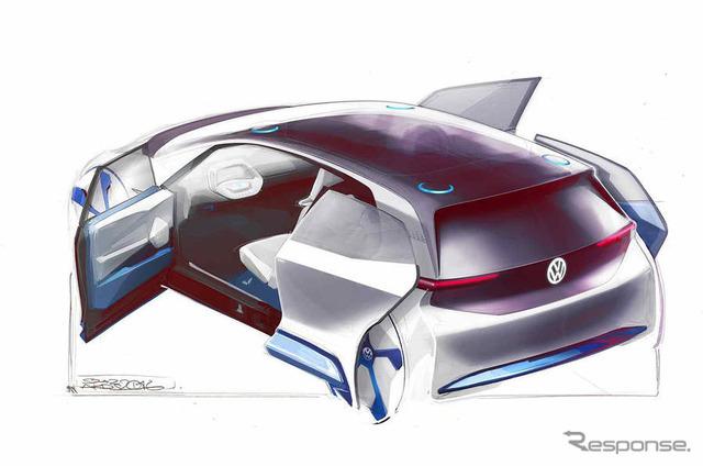 VWのEVコンセプトの予告スケッチ