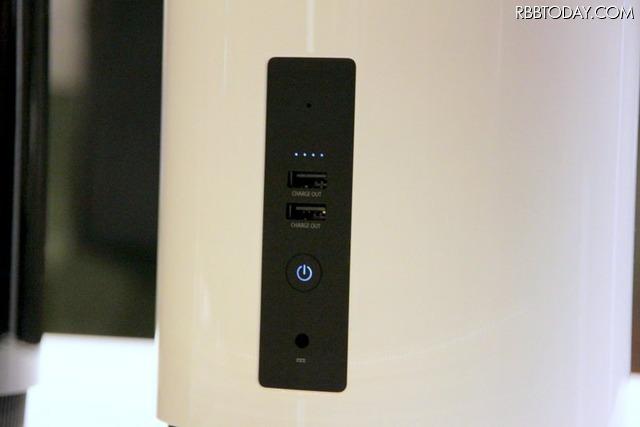 下のウーファー部分はスマートフォンなど2台の外部デバイスに電力を供給することができる