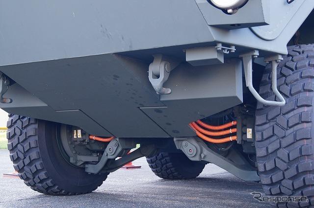 独立懸架式で、個々の車輪の高さを可変できる仕組み。