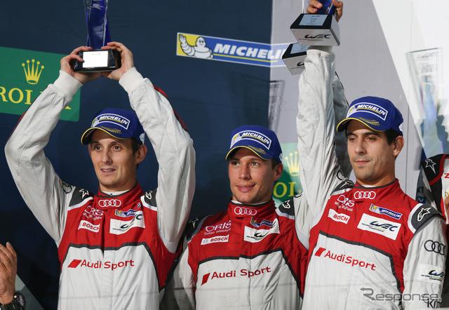 アウディ8号車のドライバートリオ、左からジャービス、デュバル、ディ・グラッシ(写真の富士戦は僅差の2位)。