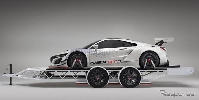 カスタムトレーラーに積載された新型NSX GT3