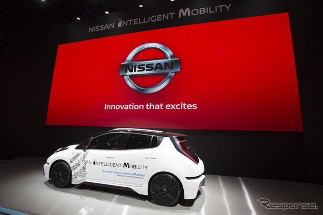 日産リーフ・ベースの自動運転試験車(CES 2017)