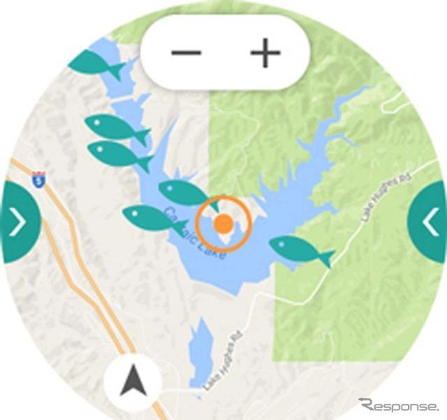 釣りのポイントを記録しておけるアプリも用意。GPSによって正確に一條が反映できる