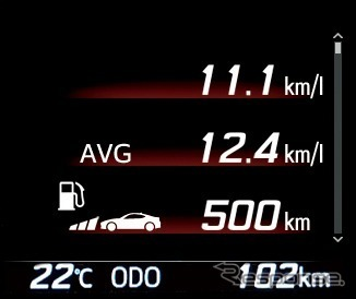 マルチインフォメーションディスプレイ(瞬間燃費/平均燃費/航続可能距離)