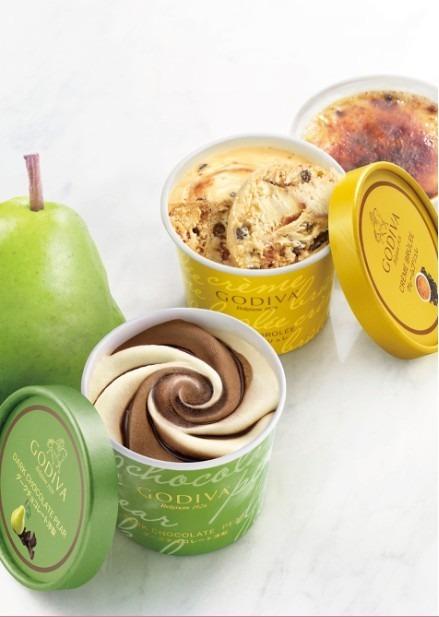 ゴディバ カップアイスに「ダークチョコレート 洋梨」と「クレームブリュレ」の新フレーバーが登場
