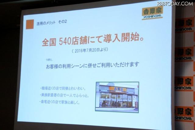デジタルボトルキープのメリットその2。対象となる吉野家(全国540店舗)全店で利用できる