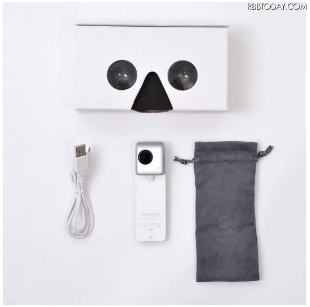 サイズは幅33×奥行き110×高さ21(mm)、重量は約73g。製品には専用ケースのほか、VR映像を楽しめるVRカードボード(パッケージ)が同梱される