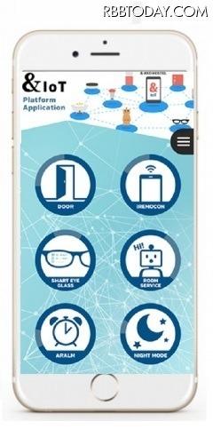 「&AND HOSTEL」のIoTデバイスを動かす「&IoTプラットフォームアプリ」。これひとつでテレビ、エアコン、空気清浄機、照明及び各種IoTデバイスの操作が可能(画像はプレスリリースより)
