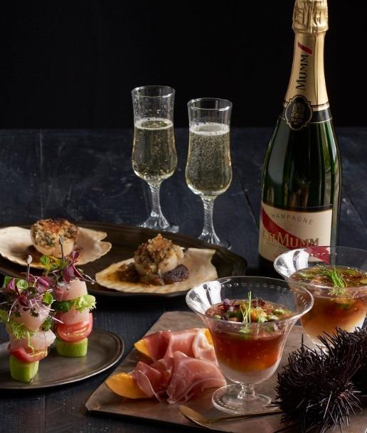 キハチ 青山本店で「雲丹や魚介の前菜が味わえるシャンパンフリーフロー Champagne Terrace」開催